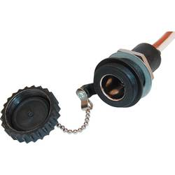 Stikdåse Vandtæt normstikdåse IP 67 ProCar Wasserdichte Bordspannungs-Steckdose 12 eller 24 V/DC 16 A Kabel