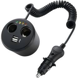 2-delni avtomobilski razdelilnik, z USB za držalo pločevink, maks. tokovna obremenitev: 10 A za cigaretni vžigalnik, USB-A