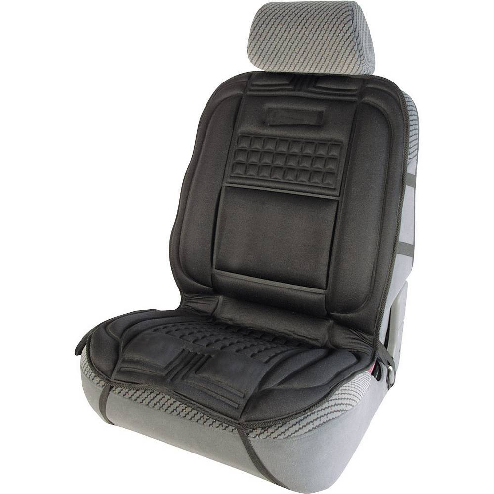 Sædebetræk, der kan varmes op 12 V Massagefunktion Sort