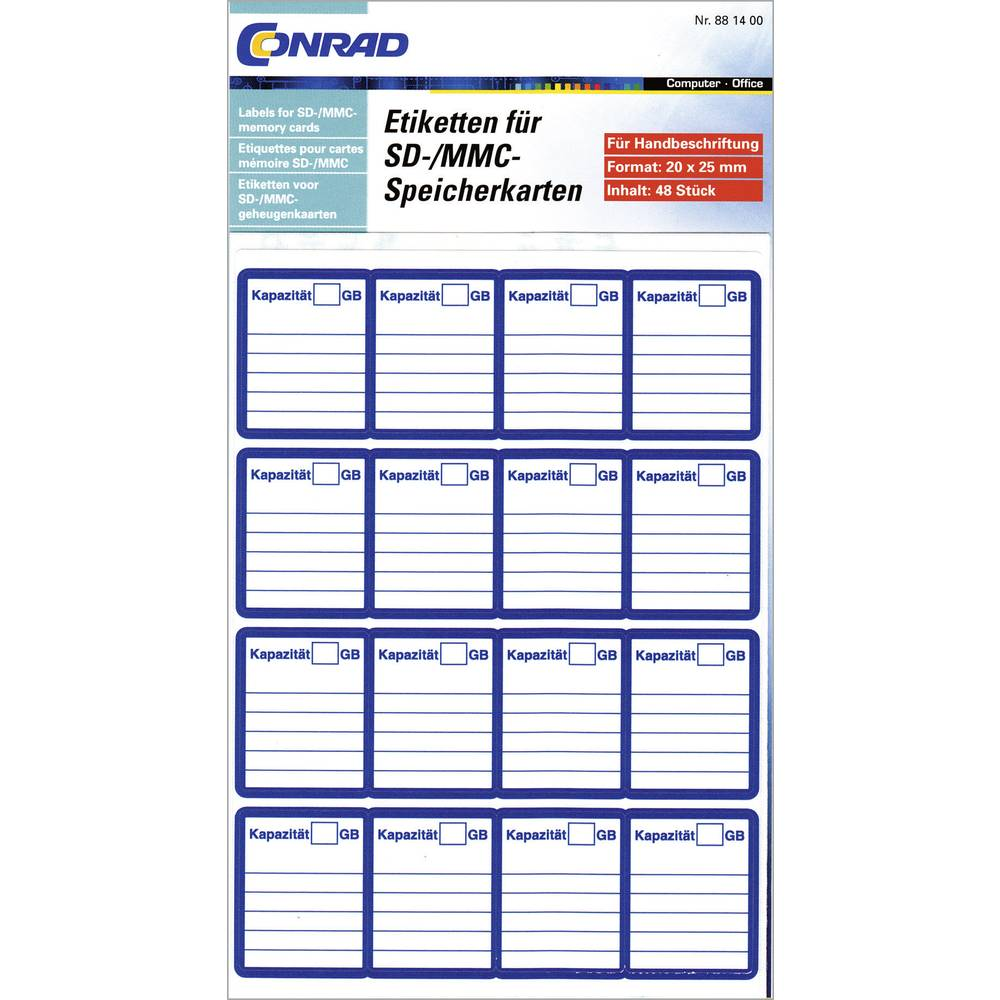 Naljepnice za SD-/MMC memorijske kartice, ručno pisanje, 48 komada, 20 x 25 mm 881400