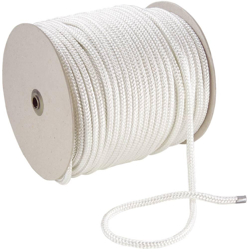 Pleteno uže, (ØxD) 3mm x 100m, poliester, bijelo, 20434