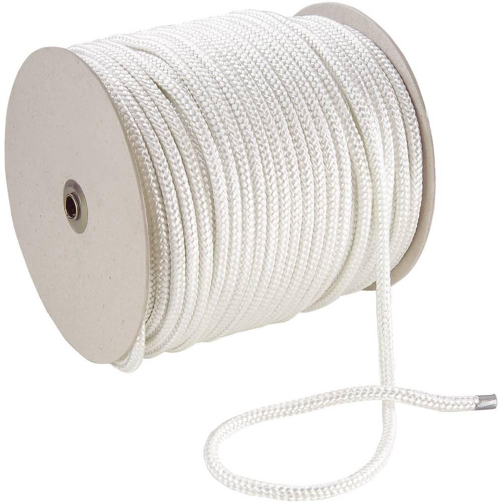 Pleteno uže, (ØxD) 8mm x 100m, poliester, bijelo, 20070