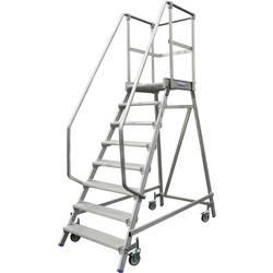 Aluminijasta podestna lestev, mobilna, delovna višina (maks.): 2.7 m Krause 820136 srebrne barve 30 kg