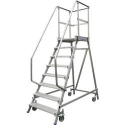 Aluminijasta podestna lestev, mobilna, delovna višina (maks.): 3.20 m Krause 820150 srebrne barve 36.8 kg
