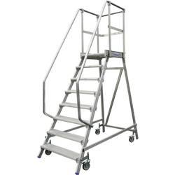 Aluminijasta podestna lestev, mobilna, delovna višina (maks.): 3.65 m Krause 820174 srebrne barve 51.4 kg