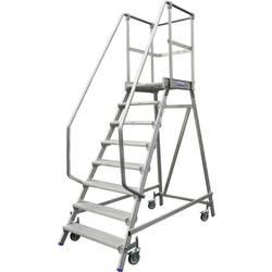 Aluminijasta podestna lestev, mobilna, delovna višina (maks.): 3.90 m Krause 820181 srebrne barve 62.8 kg