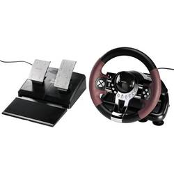 Ratt Hama Racing Wheel Thunder V5 USB PC, PlayStation® 3 Svart, Röd inkl. Pedal