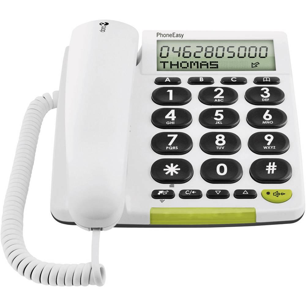 Vrvični telefon za starejše DORO PHONEEASY 331 ph, optična signalizacija klica, prostoročno telefoniranje, mat bela, 380007