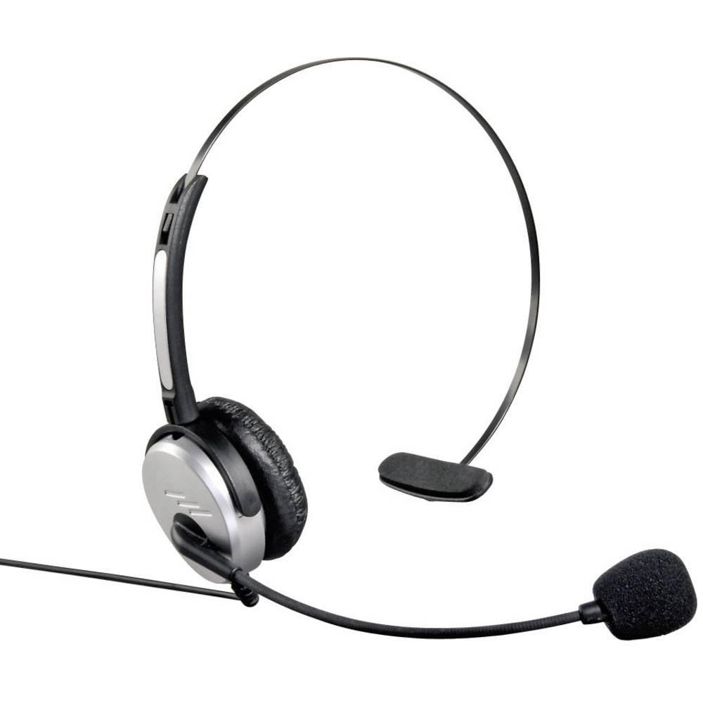 Telefonske slušalice s mikrofonom 40625 Hama 2.5 mm utikač, s kablom, mono On Ear srebrne, crne