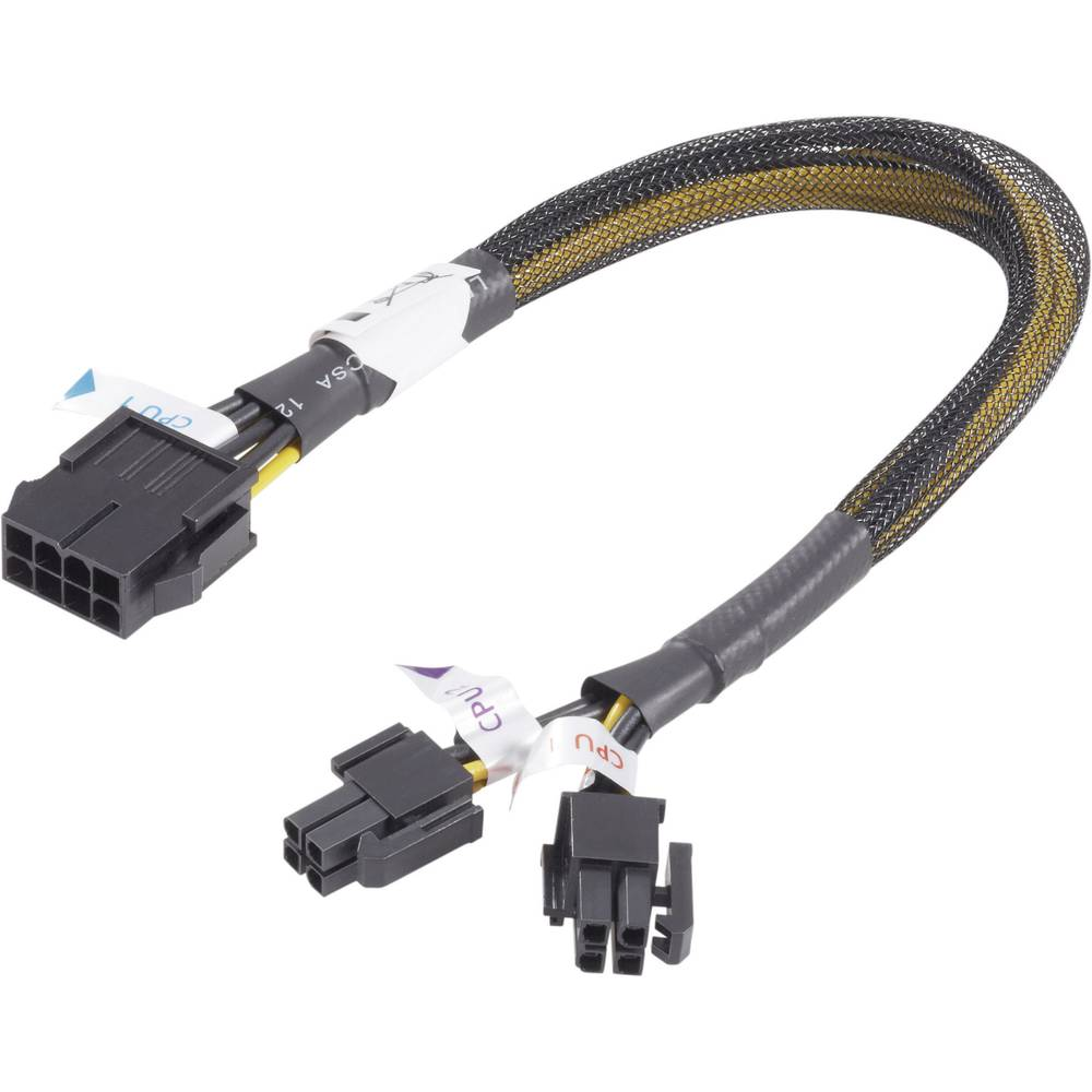 Strujni produžni kabel [1x PCIe utikač 8pol. - 2x PCIe utikač 4pol.] 0.30 m žuti-crni Akasa