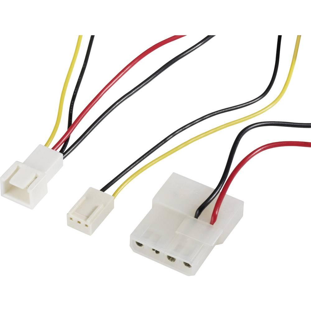 Priključni kabel za PC ventilator [1x utikač za PC ventilator 3pol. - 1x IDE strujni utikač 4pol., utikač za PC ventilator 3pol.