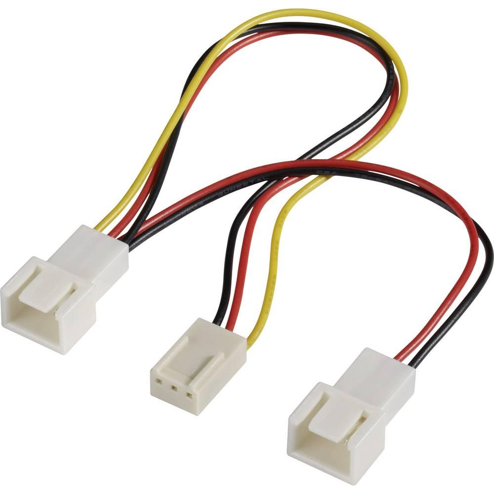 Y-kabel za PC ventilator [2x utikač za PC ventilator 3pol. - 1x utikač za PC ventilator 3pol.] 15 cm crni, crveni, žuti Akasa
