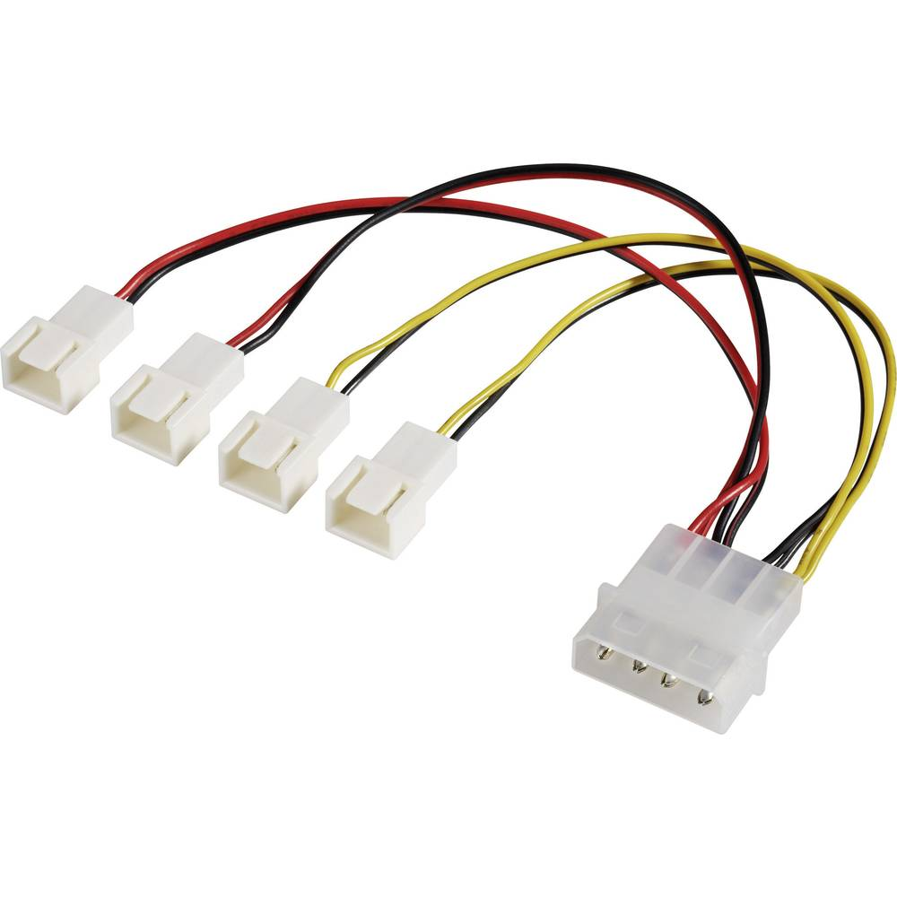 Y-kabel za PC ventilator [4x utikač za PC ventilator 3pol. - 1x IDE strujni utikač 4pol.] 15 cm crni, crveni, žuti Akasa