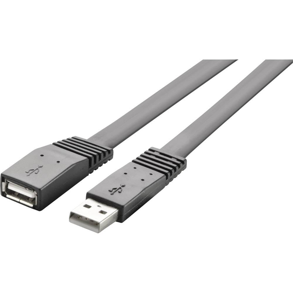 USB 2.0 Förlängningskabel Renkforce [1x USB 2.0 A hane - 1x USB 2.0 A hona] Högflexibel 3 m Svart