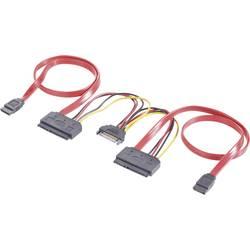 Y-kabel za tvrdi disk [2x SATA-utičnica 7pol., SATA-utikač napajanja 15pol. - 2x SATA-kombinirana utičnica 7+15pol.] 0.50 m crve