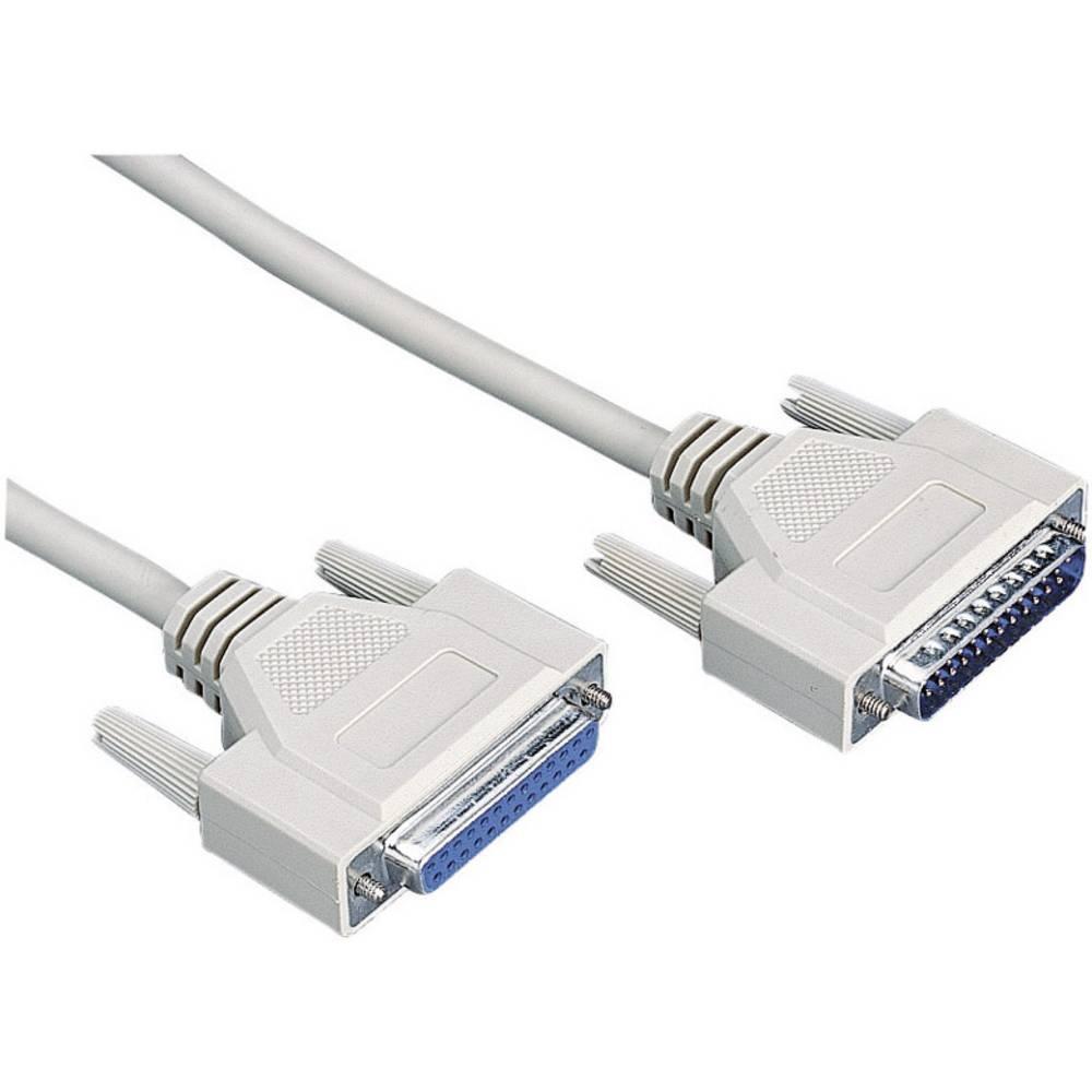 Serijski, paralelni produžni kabel [1x D-SUB utikač 25pol. - 1x D-SUB utikač 25pol.] 4.50 m sivi