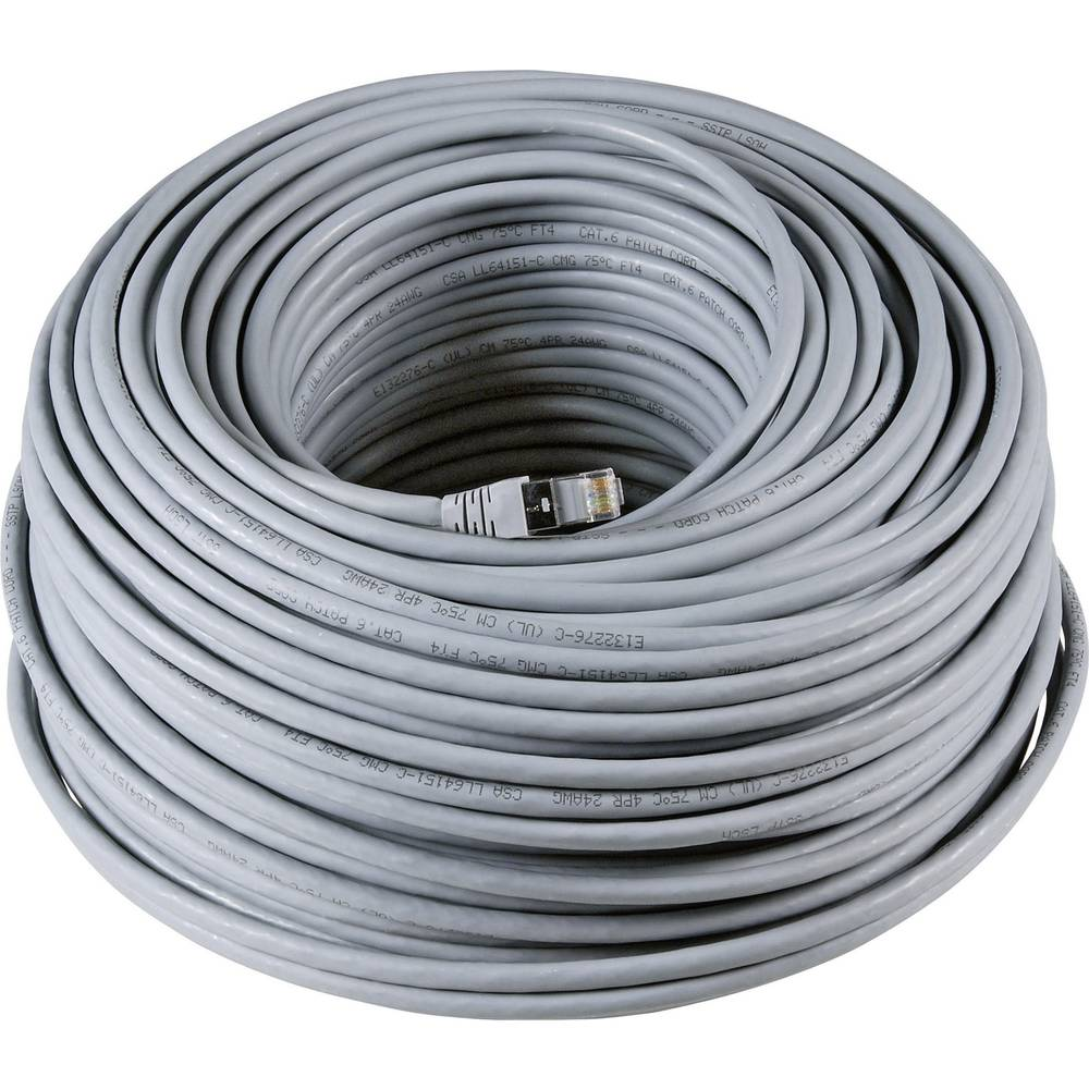 RJ45 mrežni kabel CAT 6A S/FTP [1x utikač - 1x utikač] 60 m sivi s UL certifikatom nezapaljivi, zaštić. EFB Elektronik