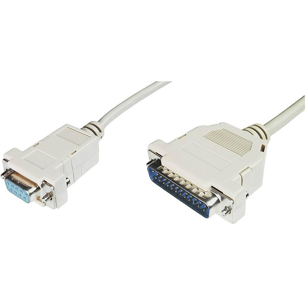 Serijski priključni kabel [1x D-SUB utikač 25pol. - 1x D-SUB utikač 9pol.] 3 m bež Conrad