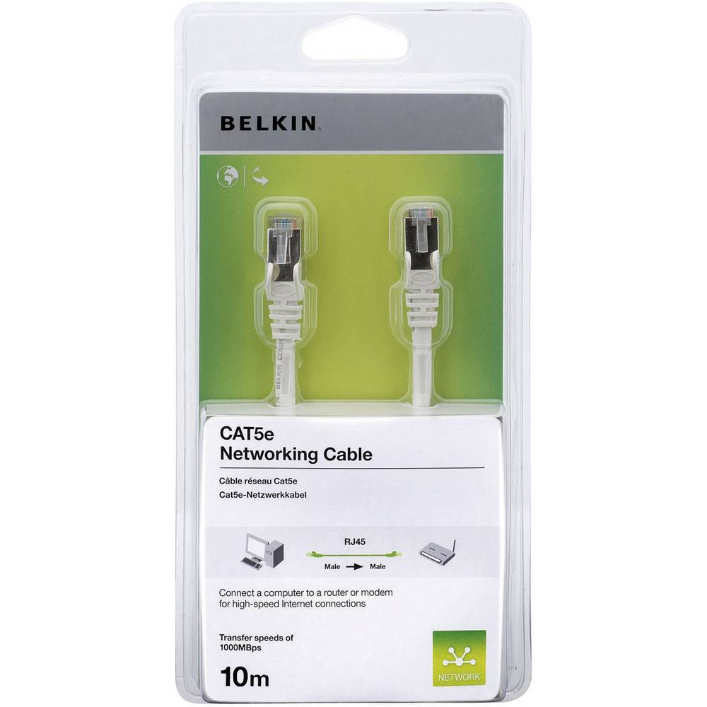 RJ45 mrežni kabel CAT 5e F/UTP [1x RJ45 utikač - 1x RJ45 utikač] bijeli zaštićeni Belkin A3L791cp10MWHHS