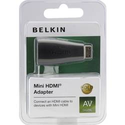 HDMI Adapter Belkin F3Y042bf [1x HDMI hane C Mini - 1x HDMI hona] Svart guldpläterad kontakt