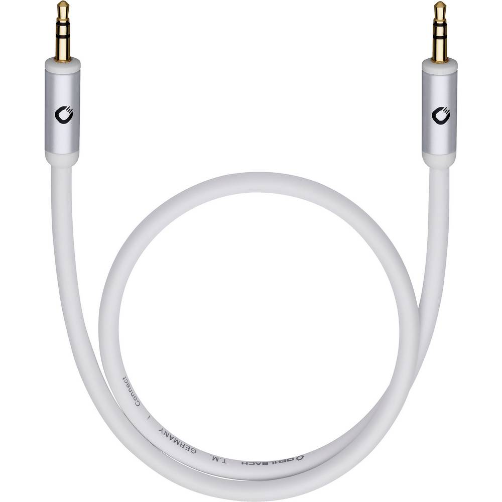 Priključni kabel Oehlbach iConnect, 3,5 mm m. banana kon./3,5 mm m. banana k., bel, 1,5 m 60012