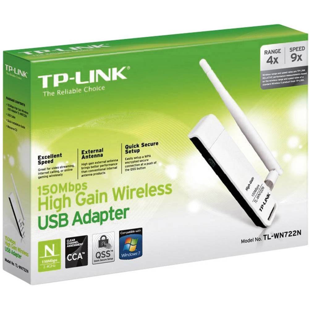 WLAN USB-adapter TP-Link TL-WN722N, 150 Mbit/s, visoko ojačanje (High Gain)