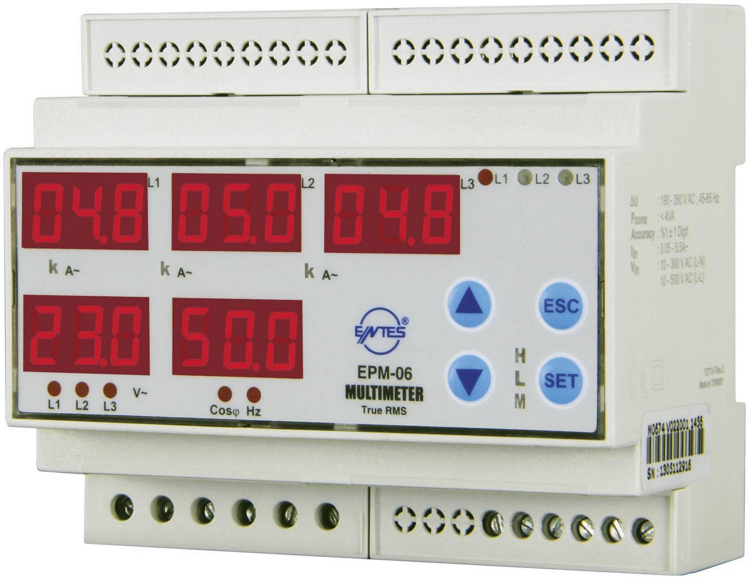 ENTES EPM-06CS-DIN  Programirajući trofazni izmjenični multimetar Napon, struja, frekvencija, sati rada, ukupni sati
