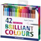 Staedtler 334 C42 triplus fineliner 42 kom/paket vodenoplava boja, svijetloplava , plava boja, neonsko-plava, neonsko-ze