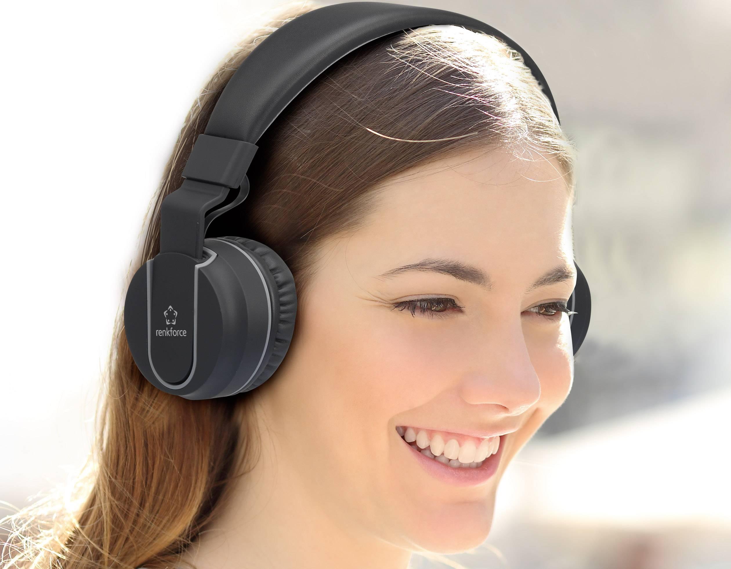 Renkforce RF-BTK-100 Bluetooth® HiFi on ear stereo-headset na ušima slušalice s mikrofonom, sklopive crna, siva