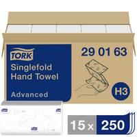 TORK 290163 Zickzack Advanced Papír kéztörlők (H x Sz) 23 cm x 25 cm Fehér 15 x 250 lap/csom. 3750 db TORK