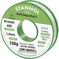 Ezüsttartalmú forrasztóón, forrasztóhuzal 1,0mm/100g Stannol Flowtin Sn95Ag4Cu1 (810006) Stannol