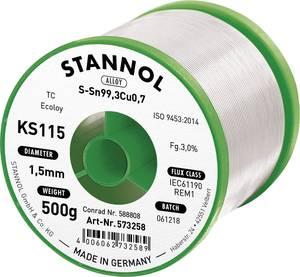 Forrasztóhuzal, ólommentes, 500 g, 1,5 mm, 3,0%, KS115 Stannol