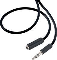 Jack hosszabbító kábel, 1x 3,5 mm jack dugó - 1x 3,5 mm jack aljzat, 0,5 m, fekete, SuperSoft, SpeaKa Professional (SP-2518832) SpeaKa Professional