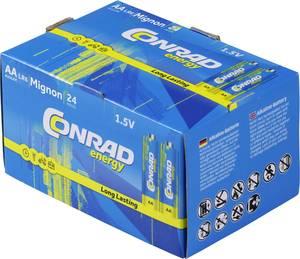 Ceruzaelem készlet, 24db 1.5V-os AA alkáli mangán elemkészlet LR06, AA, LR6, AAB4E, AM3, 815, E91, LR6N Conrad Energy (650640) Conrad energy