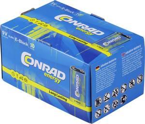9V-os elem készlet, alkáli mangán, 9V, 10 db, Conrad Energy 6LR61, 6LR21, 6AM6, 6LP3146, MN1604, A1604, E Block, LR22 Conrad energy