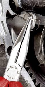 Fél-kerek csőrű fogó vágóéllel (Rádiófogó) 160 mm, hegyes, lapos pofa, Knipex 25 01 160 Knipex