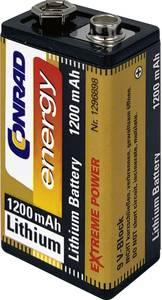 9V-os elem, lítium, 9V, 1200 mAh, Conrad Energy Extreme Power 6LR61, 6LR21, 6AM6, 6LP3146, MN1604, A1604, E Block, LR22 Conrad energy