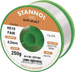 Forrasztóón Tekercs Stannol HS10-Fair Sn99.3Cu0.7 250 g 0.5 mm Stannol