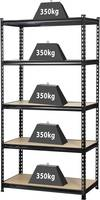 Nagy teherbírású polcos állvány 350 kg, 900 x 1800 x 450 mm, fém/fa polcokkal, TOOLCRAFT TOOLCRAFT