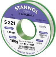 Stannol S321 2,0% 1,0MM SN99,3CU0,7CD 100G Forrasztóón, ólommentes Ólommentes, Tekercs Sn99.3Cu0.7 100 g 1 mm (631921) Stannol