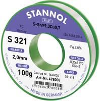 Stannol S321 2,0% 2,0MM SN99,3CU0,7 CD 100G Forrasztóón, ólommentes Ólommentes, Tekercs Sn99.3Cu0.7 100 g 2 mm (631912) Stannol