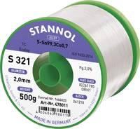 Stannol S321 2,0% 2,0MM SN99,3CU0,7CD 500G Forrasztóón, ólommentes Ólommentes, Tekercs Sn99.3Cu0.7 500 g 2 mm Stannol