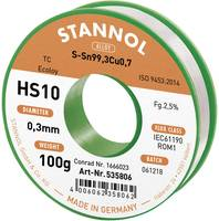 Stannol HS10 2,5% 0,3MM SN99,3CU0,7 CD 100G Forrasztóón, ólommentes Ólommentes, Tekercs Sn99.3Cu0.7 100 g 0.3 mm (593001) Stannol