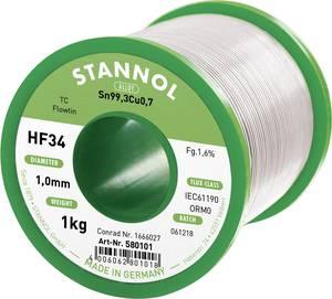 Forrasztóón, ólommentes Tekercs, Ólommentes Stannol HF34 1,6% 1,0MM FLOWTIN TC CD 1000G Sn99.3Cu0.7 1000 g 1 mm (580101) Stannol