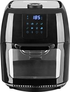 GourmetMaxx 02095 Forrólevegős fritőz Grillpálcával, Hőmérséklet előválasztás, Időzítő funkció Nemesacél, Fekete GourmetMaxx