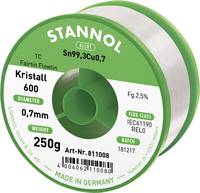 Stannol Kristall 600 Fairtin Forrasztóón, ólommentes Ólommentes Sn0.7Cu 250 g 0.7 mm Stannol