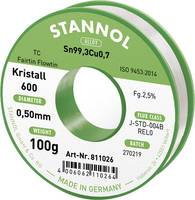 Stannol Kristall 600 Fairtin Forrasztóón, ólommentes Ólommentes Sn0.7Cu 100 g 0.5 mm Stannol