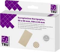 TRU COMPONENTS Euro panel Keménypapír (H x Sz) 90 mm x 50 mm 35 µm Raszterméret 2.54 mm Tartalom 4 db TRU COMPONENTS
