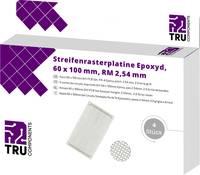 Euro panel, (H x Sz) 100 mm x 60 mm, 35 µm, raszterméret 2,54 mm, epoxi, TRU COMPONENTS T1906SA034, 4 db TRU COMPONENTS