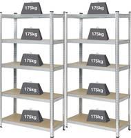 Nagy teherbírású polcos állvány 175 kg, 900 x 1800 x 400 mm, fém/MDF fa polcokkal, ónozott, 2 db, Basetech 2142909 Basetech